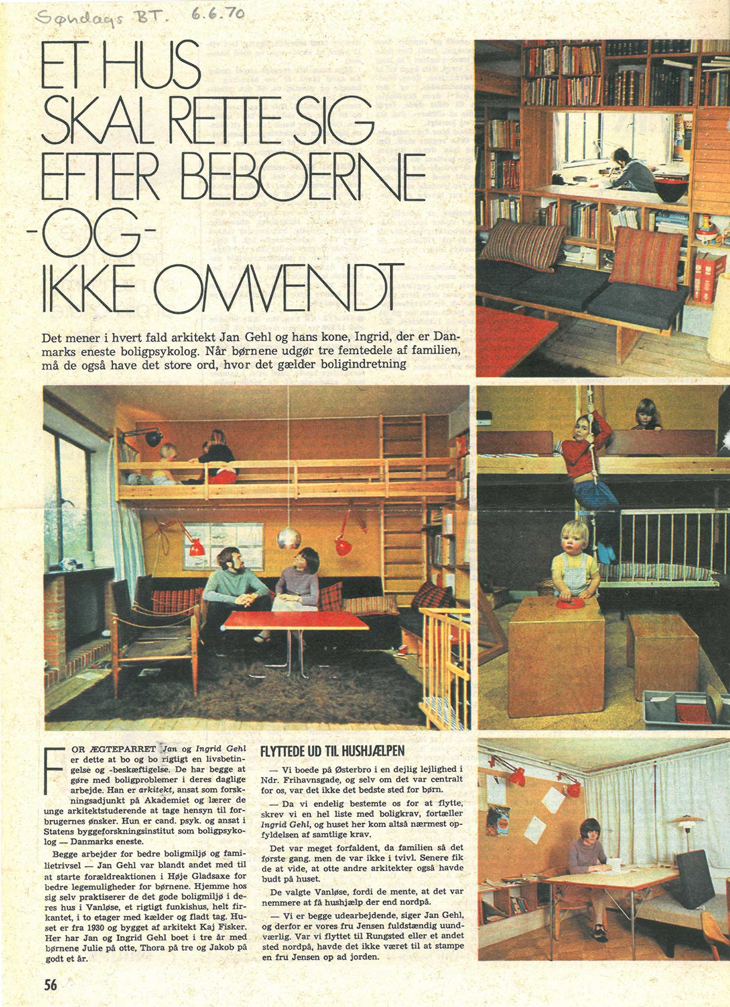 Architecture psychology and urban planning gehl ingrid and jan gehl in their home featured in the danish newspaper sndags bt sciox Image collections